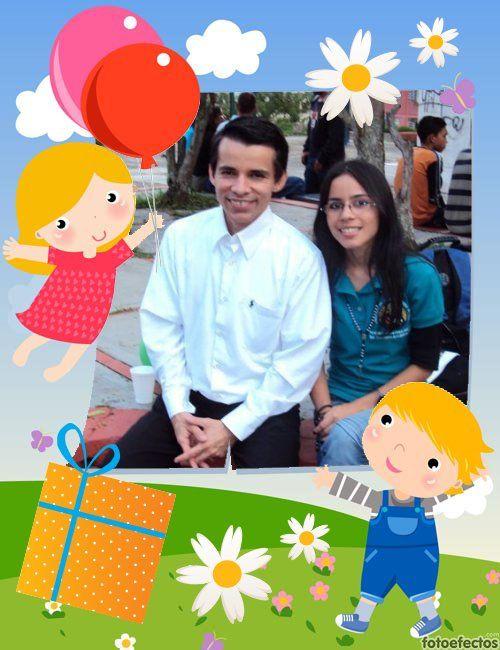fotomontaje dePostcard-drawings-celebration-kids-gifts-balloons 1844