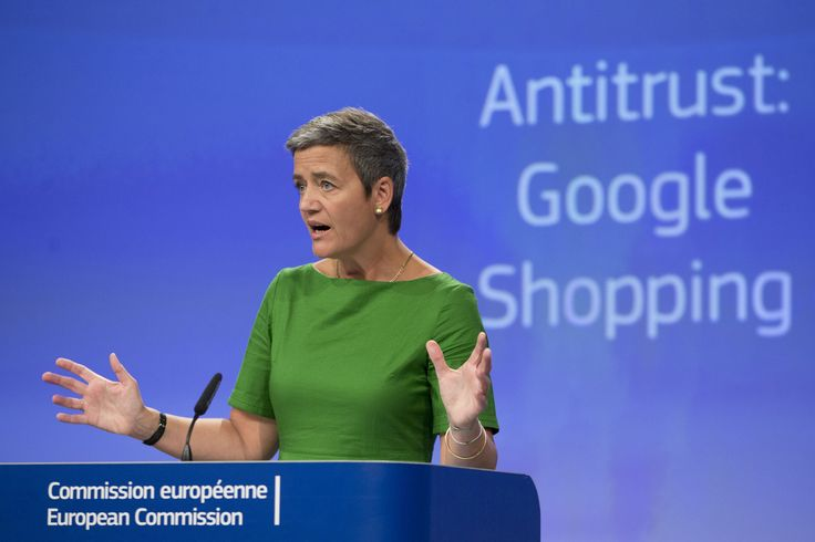 European Union Commissioner for Competition Margrethe Vestager speaks during a media conference at EU headquarters in Brussels on Tuesday, June 27, 2017. The European Union's competition watchdog has fined internet giant Google over its online shopping service. (Virginia Mayo/AP)