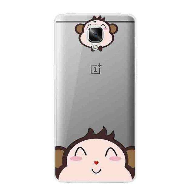 For OnePlus 3 Phone Case for One Plus 3 Transparent OnePlus 3T Shell Ultra Thin Cover Silicon Cute Animal Pattern Capa Gel