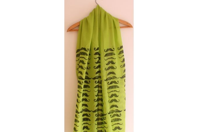 Moustache Movember Hand block printed Indian cotton scarf in lime green by Kerry Cherry Designs and Prints on hellopretty.co.za