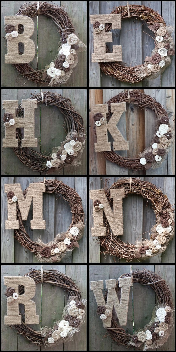 Burlap Wreath with Pearls and Jute Monogram Letter. $47.00, via Etsy.