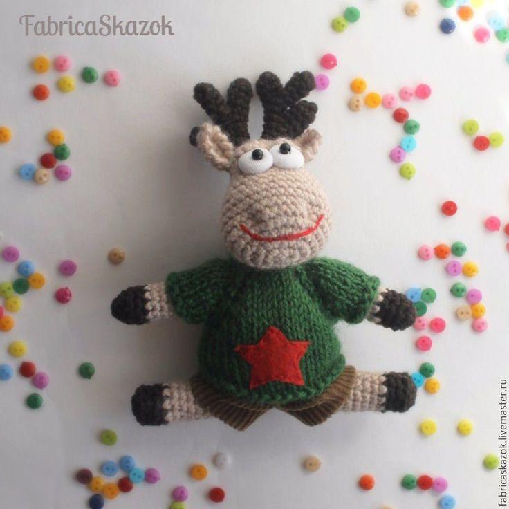 Купить Игрушка вязаная олень Гриша - бежевый, олень игрушка, купить оленя