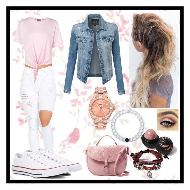 """Random Denim Jacket Outfit"" by roze-m on Polyvore featuring Boohoo, LE3NO, River Island, Lokai, Bling Jewelry, Bottega Veneta and Converse"