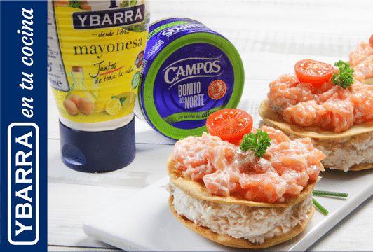 Receta Milhojas de crema de bonito, salmón y mayonesa Ybarra - Ybarra en tu cocina