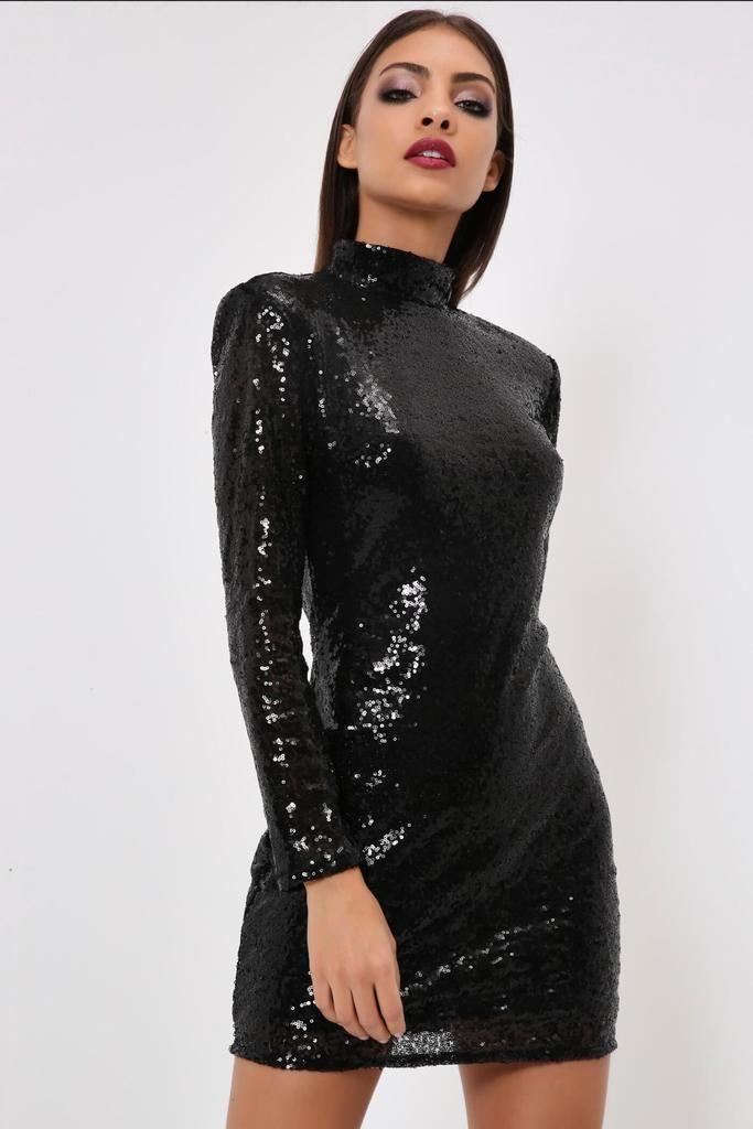 96db147f2c4 Black Sequin Dress With Shoulder Pads   Regina mills/Lana parilla ...