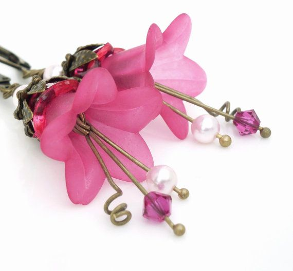 Bright pink lucite flower earrings pink flower by WickedRuby, $22.00