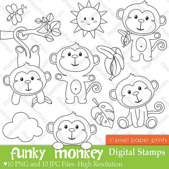 Funky Monkey  Digital Stamps by pixelpaperprints on Etsy, $5.00