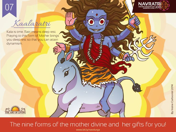 #Navratri Day 7: Kaalaratri Kala is time. #Time #consumes #everything #in #creation and time is a #witness to #everything as well. Ratri means #deep #rest, absolute rest at the level of the #body, #mind and #soul. Without rest, one cannot #be #bright. #Praying to this #form of #Devi  #brings #deep #rest and #dynamism.