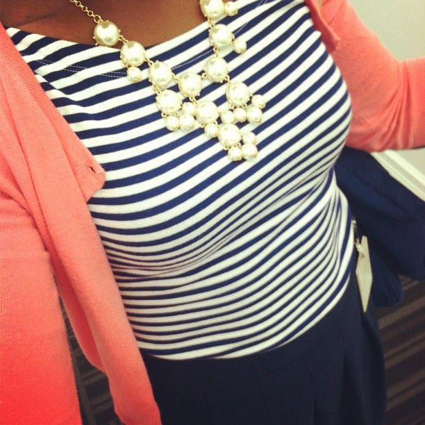 Work Outfit with Pearl bubble necklace
