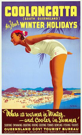Coolangatta, South Queensland. 'For Your Winter Holidays' by James Northfiled. c. 1930s http://www.vintagevenus.com.au/vintage/reprints/info/TV323.htm