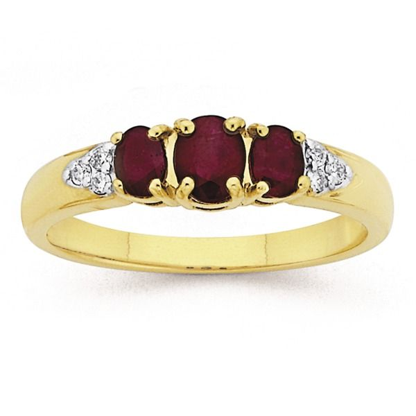 9ct, Ruby and Diamond Ring