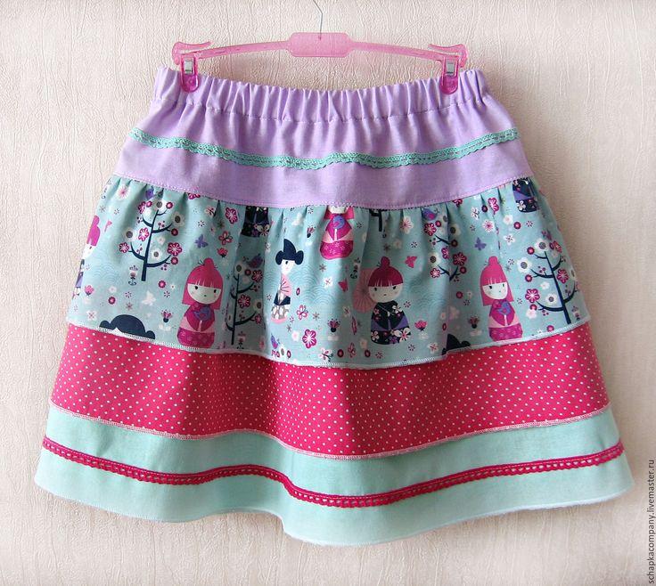 Купить Юбка для девочки - комбинированный, юбка для девочки, юбка из хлопка, летняя юбка, юбка с оборками