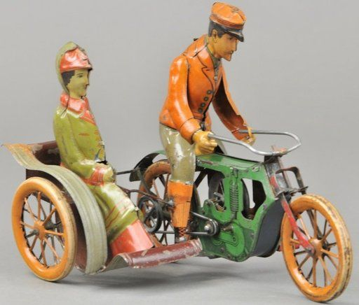 Lot: MOTORCYCLE W/SIDE CAR & RIDER, Lot Number: 1191, Starting Bid: $2,500, Auctioneer: Bertoia Auctions, Auction: Spring Toy Break - May 10, 2014, Date: May 10th, 2014 CEST