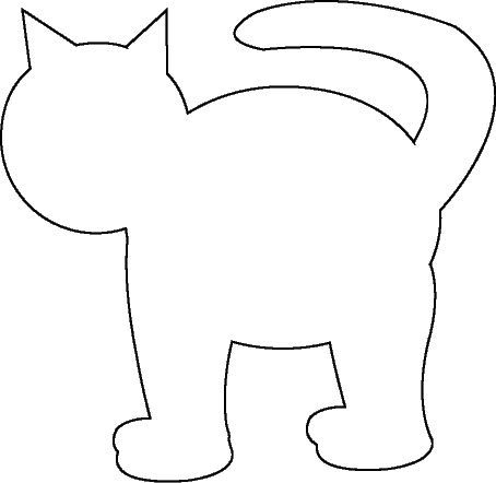 Cat template--we made calico cats by glueing on tissue paper and then spraying