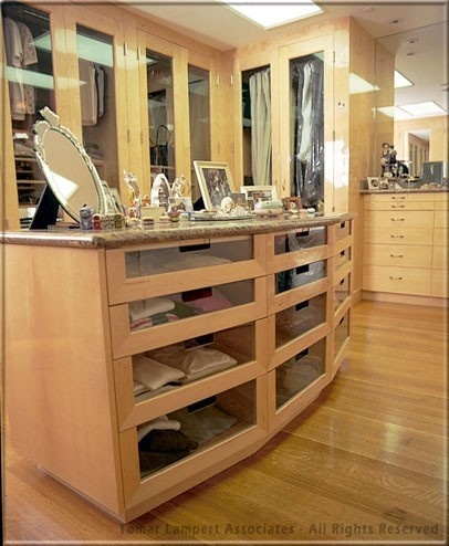 Like the glass front drawers you can find something w o for Closet island with glass top