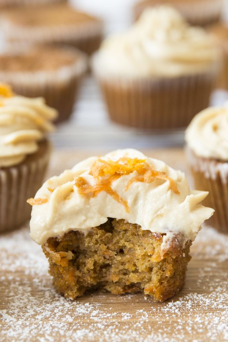 The only carrot cake cupcake you'll ever need! Frosted with brown sugar cream cheese icing. Heaven.