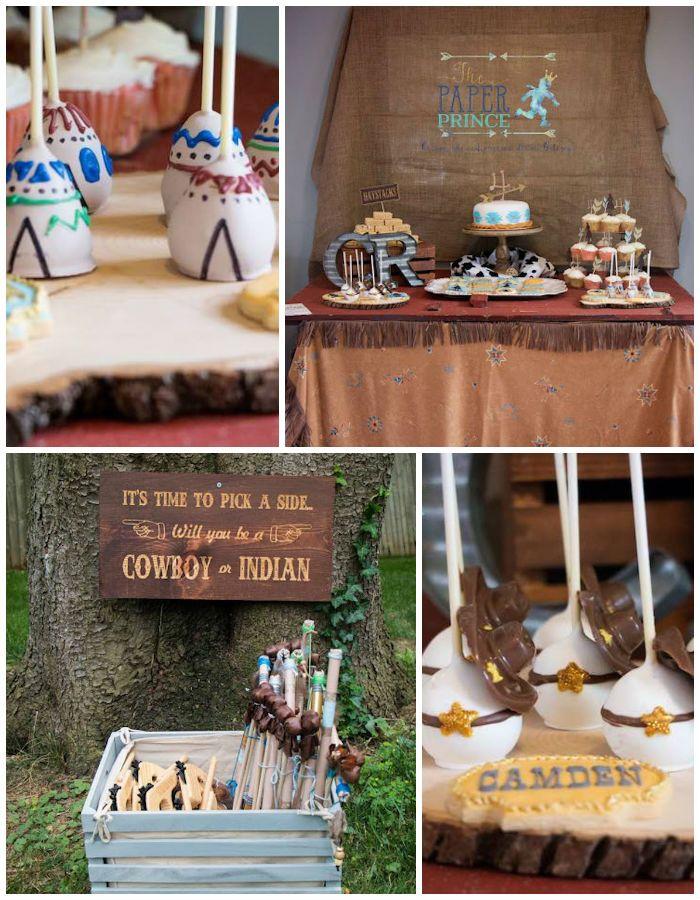 Rustic Cowboys & Indians Birthday Party via Kara's Party Ideas   KarasPartyIdeas.com