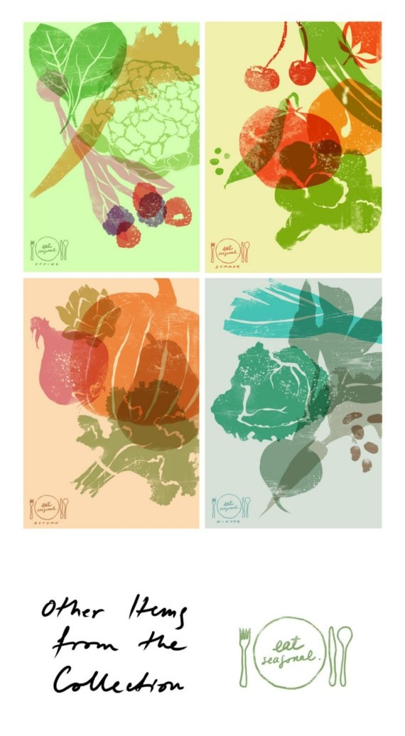 Eat Seasonal Reproduction From Original Illustration by Anek