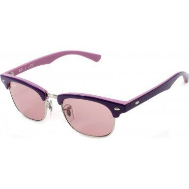 Ray-Ban Junior Kids Sunglasses - RJ9050S Clubmaster / Frame: Top Violet on Pink Lens: Pink Mirror Silver Gradient. Frame Material: Metal. Lens Material: Plastic. Lens Width: 45mm. Bridge: 16mm. Arm: 125mm.