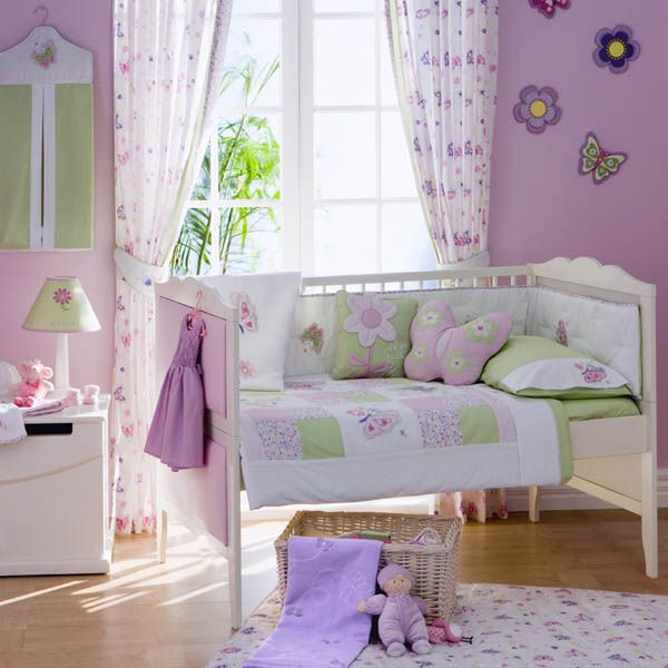 butterfly and flower nursery themed bedroom home designs and pictures - Flower Bedroom Decor