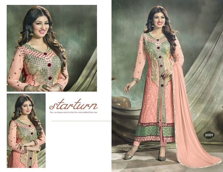 Lovely Designer Semi Stitched Salwar Kameez Chanderi Dress Material Suit 57601