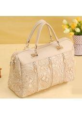 Sweet Zipper Lace Embellishment Light Pink Faux Leather Satchel Bag