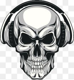 All Free Vector: Skeleton wearing headphones Free Vector