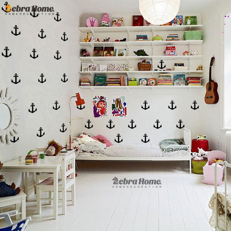 Маленькая Якорь Стикер Стены DIY Детские Детские Номера Home Decor Art Съемный стикер Настенные Обои Для Детей Спальня купить на AliExpress