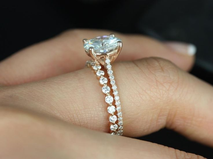 Eloise 9mm & Petite Bubble Breathe FB Moissanite and Diamonds Cathedral Wedding Set