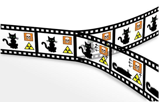 Une illustration de l'expérience dite du chat de Schrödinger.