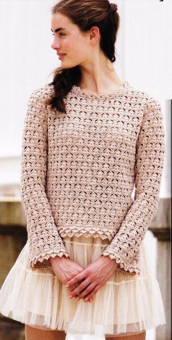 Crochet blouse, free pattern.   Häkelkleidung   Pinterest   Crochê ...