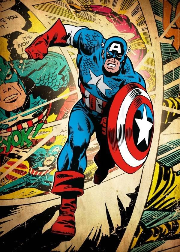 Official and licensed Displate of Captain America on a Silver age comic background.<br /> This plate is limited, numbered, and signed by the master of production.