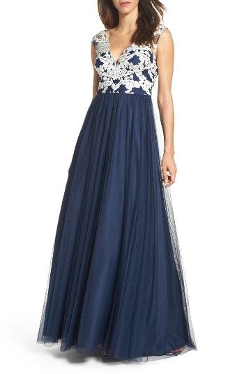 Free shipping and returns on Aidan Mattox Embroidered Bodice Ballgown at Nordstrom.com. Laser-cut flourishes embroidered over a plunging bodice add lavish texture and striking graphic impact to a timeless ballgown.