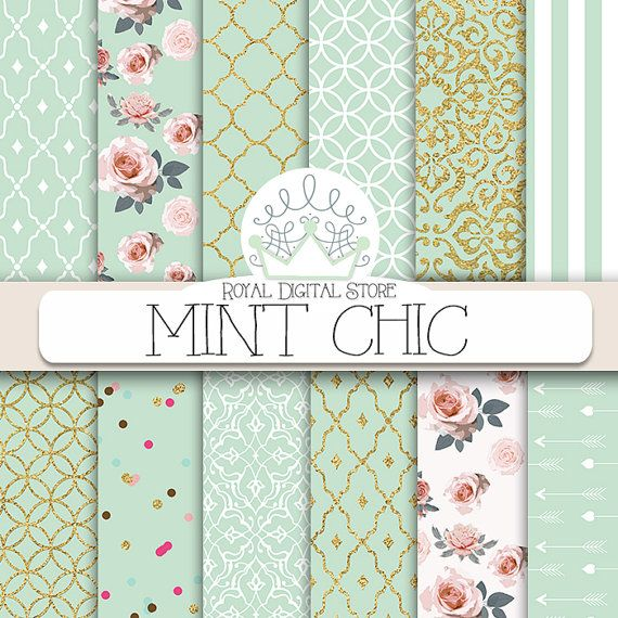 "Mint digital paper: ""MINT CHIC"" with mint background, roses, damask, quatrefoil, mint and gold for scrapbooking, cards, invitations #digital #shabby"