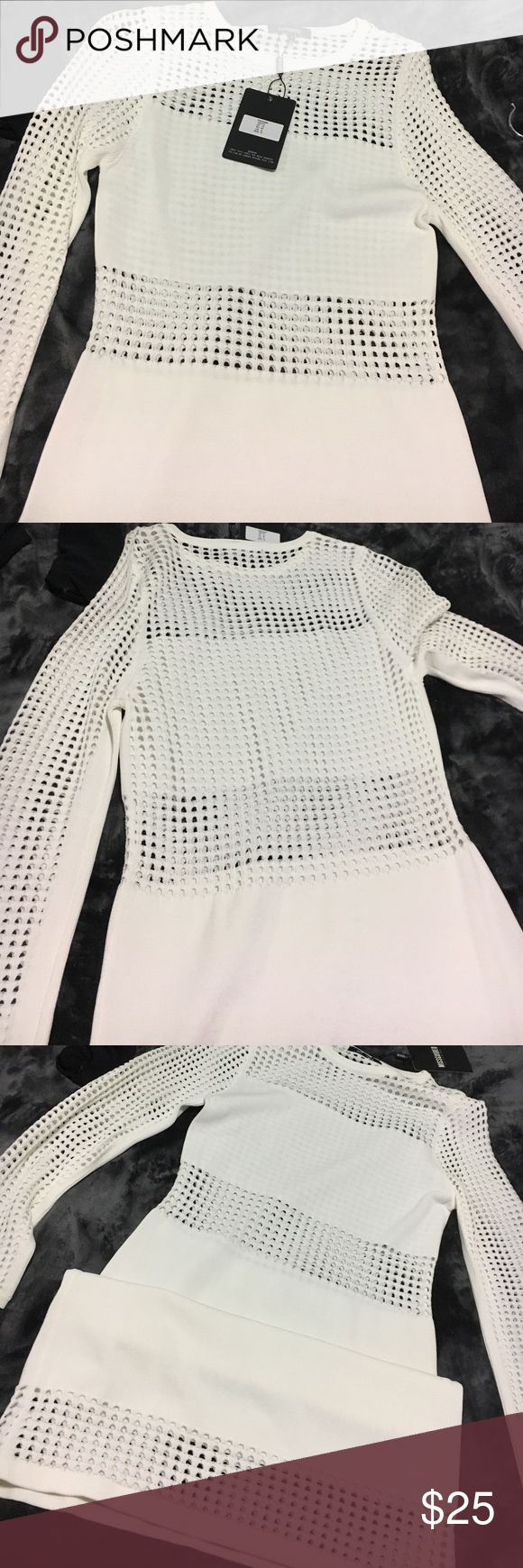 Missguided white dress Misguided white dress with cut out bands around the legs, waist, and the back. New with tags Missguided Dresses Mini