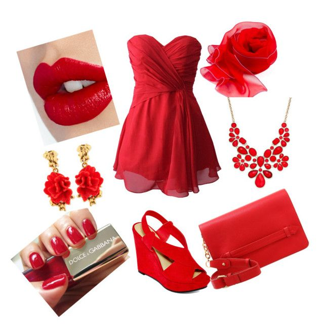 """""""rojo pasion - rojo fashion!!"""" by lucia-romero-12 ❤ liked on Polyvore featuring A.N.A, even&odd, Charlotte Tilbury, Dolce&Gabbana, INC International Concepts and Oscar de la Renta"""