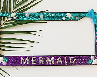 Mermaid Bling Bedazzled Ombré Aqua Purple Bling license plate frame, Beach Rhinestone Car accessories, Ocean Gifts for Women