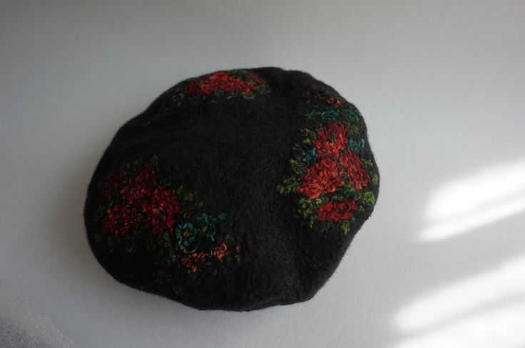 felted beret: merino wool with printed roses from a kashmeer shawl