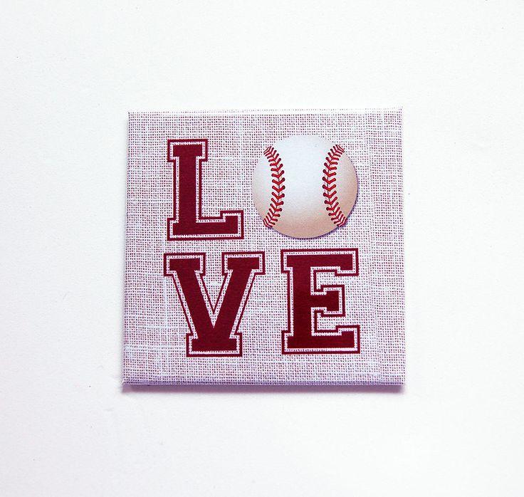 Love Baseball, Locker Magnet, Baseball Magnet, Fridge magnet, Magnet, Square Magnet, Gift for him, Fathers Day, baseball, Mothers Day (7447) by KellysMagnets on Etsy