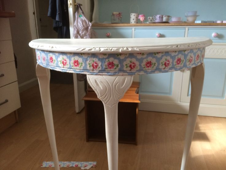 Half Moon Table With Chalk Paint U0026 Decoupage, Though I Think Iu0027d Prefer