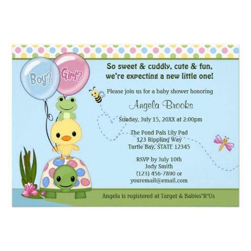 15 best duck baby shower invitations images on pinterest convites pond pals duck baby shower invitation frog 2 stopboris Image collections