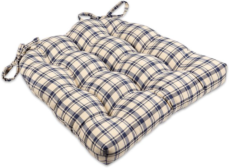 Blue U0026 Natural Plaid Dining Chair Pads U0026 Rocking Chair Cushions #blue #plaid  #