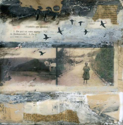 """encaustic, mixed media by Angela Petsis.  Called The Day Left. For this piece Angela used This mixed media piece was created on 8""""x8"""" cradled wood panel that's 3/4"""" thick. For this piece she used encaustic paints, along with ephemera and burnt paper."""