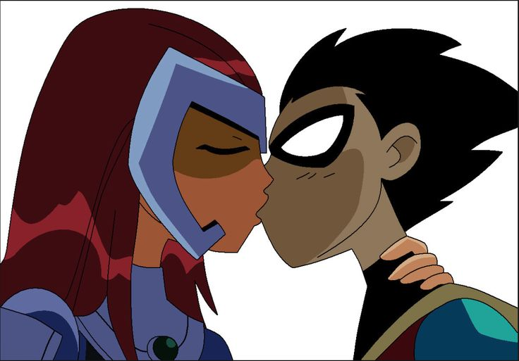 Starfire kisses Robin on their first meeting