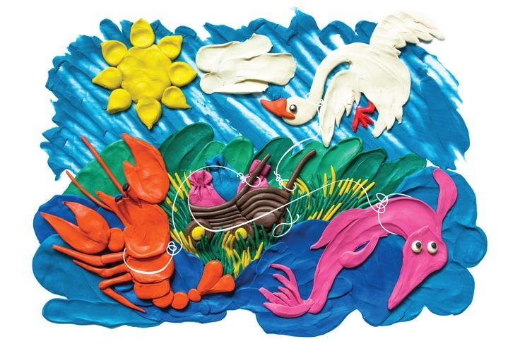 illustration, plasticine, swan, crayfish, pike