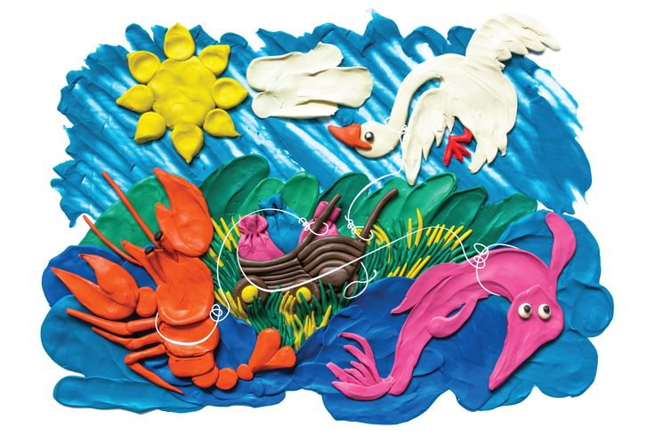 illustration, plasticine, swan, crayfish, pike