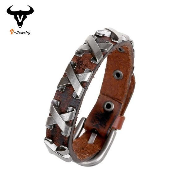 Cool 100% Genuine Leather Thick Male Bracelet Metal Cross Rivets Studded Cuff Bangle Single Buckle Belt Bracelet pulseras hombre - cubic zirconia jewelry