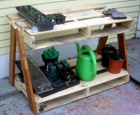 """""""I found this awesome potting bench made out of recycled pallets on Twitter this morning (via Go Go Green Garden). Love it! So much better than the big jumble of pots and tools that I store in the corner of my vegetable garden."""""""