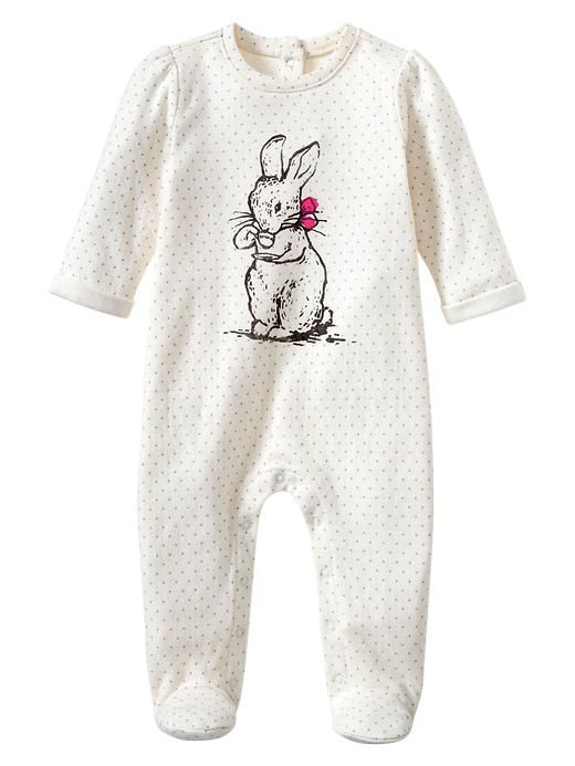 Gap | Peter Rabbit graphic footed one-piece. 9-12 mos. but she will probably be too big for it by sale time so maybe not
