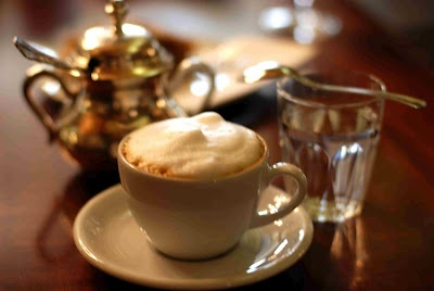 Wiener Melange - Coffe, 50/50 mild Cappuccino and wipped cream, - a taste of butter.....  The coffe to go with Sachertorte!!!!